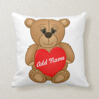Cute Valentines Teddy Bear with Big Heart Pillow