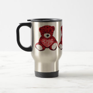 Cute Valentines Teddy Bear with Red Heart Travel Mug