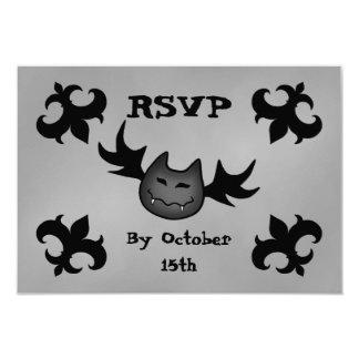 Cute vampire bat funny Halloween party RSVP Card