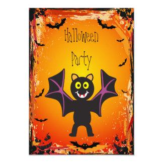 Cute Vampire Bat Halloween Party Card