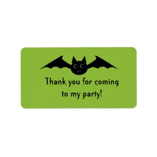 Cute vampire bat Halloween thank you favor labels label