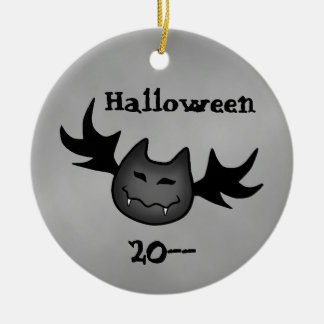 Cute vampire bat Happy Halloween funny souvenir Double-Sided Ceramic Round Christmas Ornament