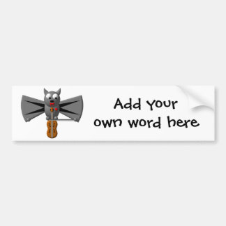 Cute vampire bat playing the violin bumper sticker