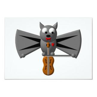 Cute vampire bat playing the violin card