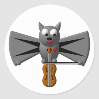 Cute vampire bat playing the violin classic round sticker