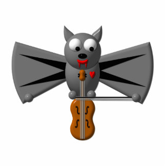 Cute vampire bat playing the violin cutout