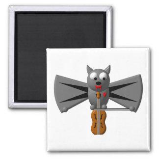 Cute vampire bat playing the violin fridge magnets