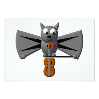 Cute vampire bat playing the violin personalized invitation