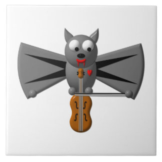 Cute vampire bat playing the violin large square tile
