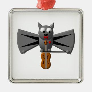 Cute vampire bat playing the violin metal ornament