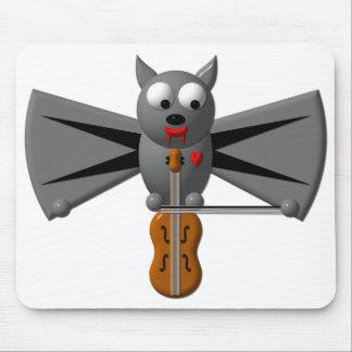 Cute vampire bat playing the violin mouse pad
