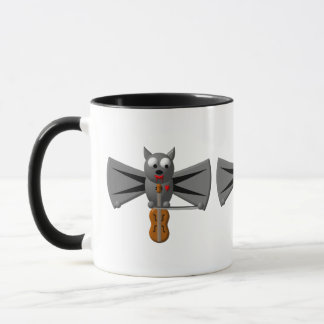 Cute vampire bat playing the violin mug