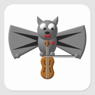 Cute vampire bat playing the violin square sticker