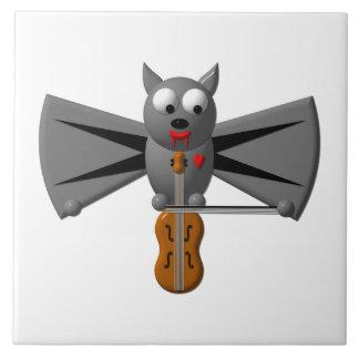 Cute vampire bat playing the violin tiles