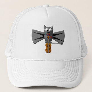 Cute vampire bat playing the violin trucker hat