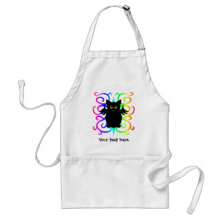 Cute vampire bat rainbow damask adult apron