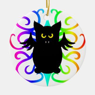 Cute vampire bat rainbow damask Double-Sided ceramic round christmas ornament