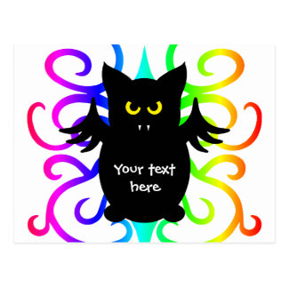 Cute vampire bat rainbow damask postcard