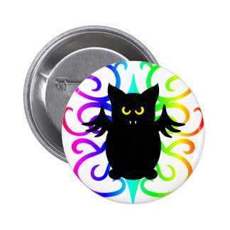 Cute vampire bat rainbow design button