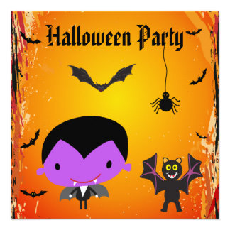 Cute Vampire, Bat & Spider Halloween Party Invites