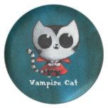 Cute Vampire Cat Dinner Plate