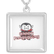 Cute Vampire Fangsgiving Halloween Thanksgiving Silver Plated Necklace