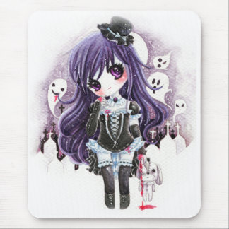 Cute vampire girl with ghosts and bloody bunny mouse pad