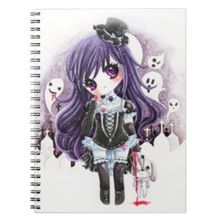 Cute vampire girl with ghosts and bloody bunny spiral note book