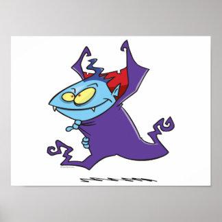 cute vampire kid cartoon character poster
