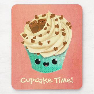 Cute Vanilla Chocolate Cupcake Mouse Pad