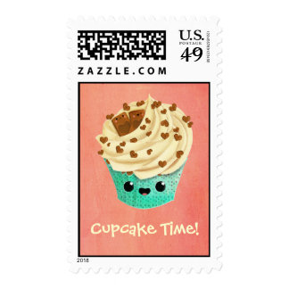 Cute Vanilla Chocolate Cupcake Postage Stamp