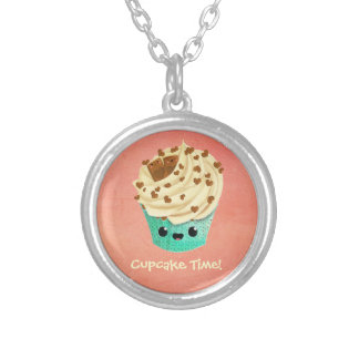 Cute Vanilla Chocolate Cupcake Silver Plated Necklace