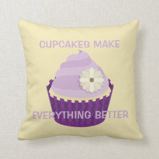 Cute Vanilla Cupcake Swirly Purple Frosting Floral Pillows