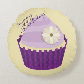 Cute Vanilla Cupcake Swirly Purple Frosting Flower Round Pillow