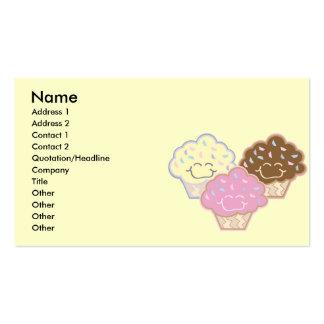 cute vanilla strawberry chocolate cupcakes, Nam... Business Card Template