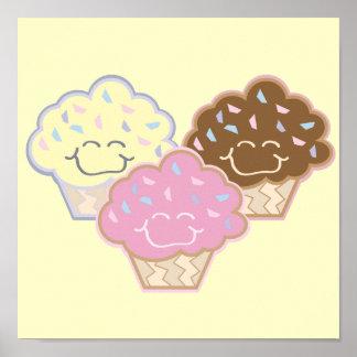cute vanilla strawberry chocolate cupcakes posters
