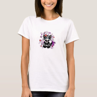 Cute Vector Black Cat with a flower in her hair T-Shirt