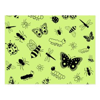 Cute Vector Bugs & Butterflies (Grass Green Back) Postcard