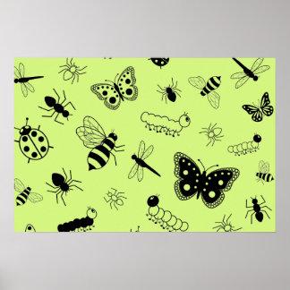 Cute Vector Bugs & Butterflies (Grass Green Back) Poster