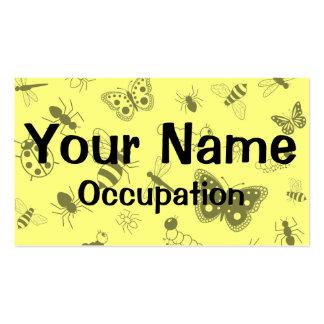 Cute Vector Bugs & Butterflies (Lemon Yellow Back) Business Card