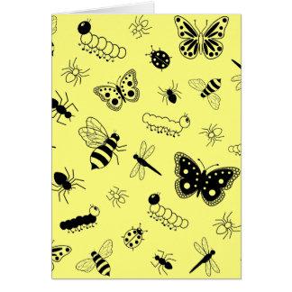 Cute Vector Bugs & Butterflies (Lemon Yellow Back) Card