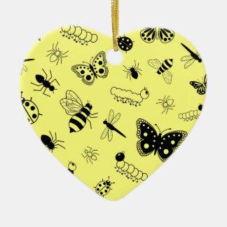 Cute Vector Bugs & Butterflies (Lemon Yellow Back) Ceramic Ornament