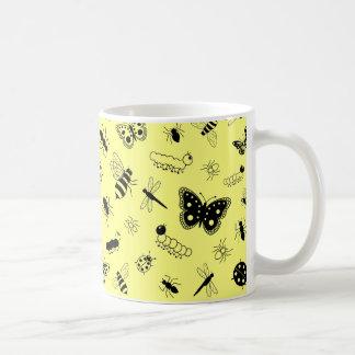 Cute Vector Bugs & Butterflies (Lemon Yellow Back) Coffee Mug