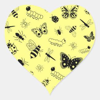 Cute Vector Bugs & Butterflies (Lemon Yellow Back) Heart Sticker