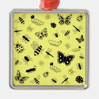 Cute Vector Bugs & Butterflies (Lemon Yellow Back) Metal Ornament