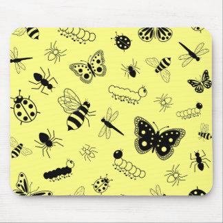 Cute Vector Bugs & Butterflies (Lemon Yellow Back) Mouse Pad
