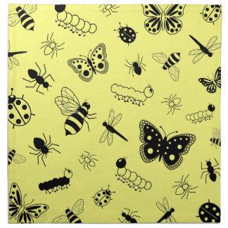 Cute Vector Bugs & Butterflies (Lemon Yellow Back) Napkin