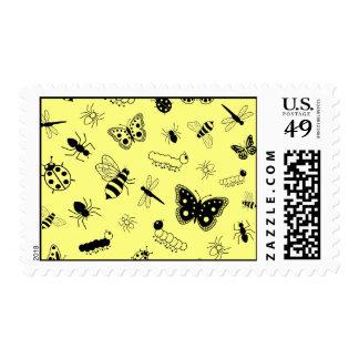 Cute Vector Bugs & Butterflies (Lemon Yellow Back) Postage