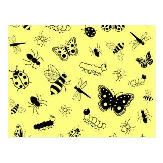 Cute Vector Bugs & Butterflies (Lemon Yellow Back) Postcard