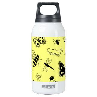 Cute Vector Bugs & Butterflies (Lemon Yellow Back) Thermos Bottle